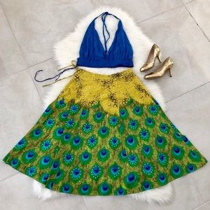 Dresses & Skirts - BUNDLE of Yellow Skirt & Blue Crop Top, size S/M